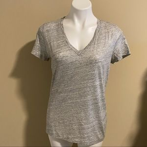 J. Crew gray/silver shimmer v-neck top size large